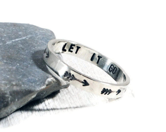 Arrow Sterling Silver Personalized Women's Ring. Let It Go Hand Stamped 3mm Band. Custom Engraved Mantra Ring. Stacking Ring.
