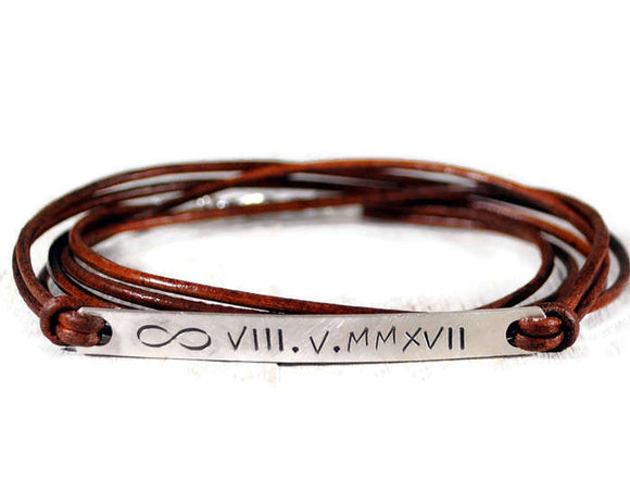 Triple Wrapped Engraved Sterling Silver Tag Bracelet. Mens Hand Stamped Bracelet. Silver ID Message Bracelet. Roman Date Bracelet. boyfriend Leather Wrap Bangle