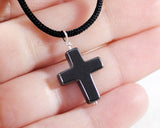 Hematite Cross Necklace On Black Cord. Mens Hematite Sterling Silver Wrapped Cross Pendant. Small Gemstone Cross Necklace.