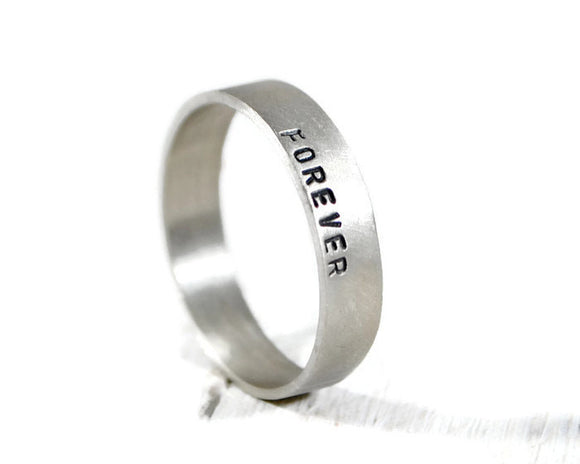 Personalized Men's Wide Sterling Silver Ring. Forever Hand Stamped Men's Band. Custom Engraved Wedding Band. Promise Ring. DuoStef Jewelry
