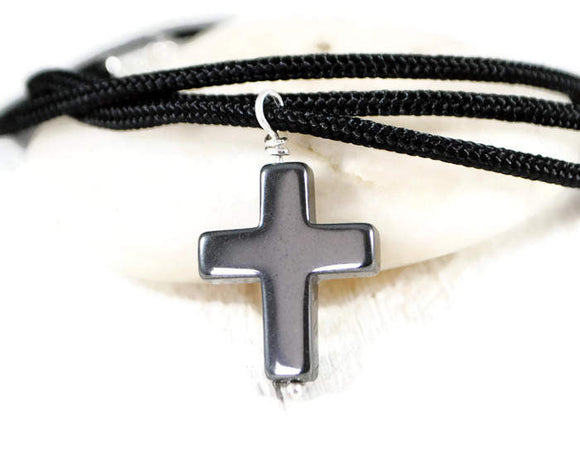 Hematite Cross Necklace On Black Cord. Mens Hematite Sterling Silver Wrapped Cross Pendant. Cross Necklace. Religious mens necklace. gifts for him.
