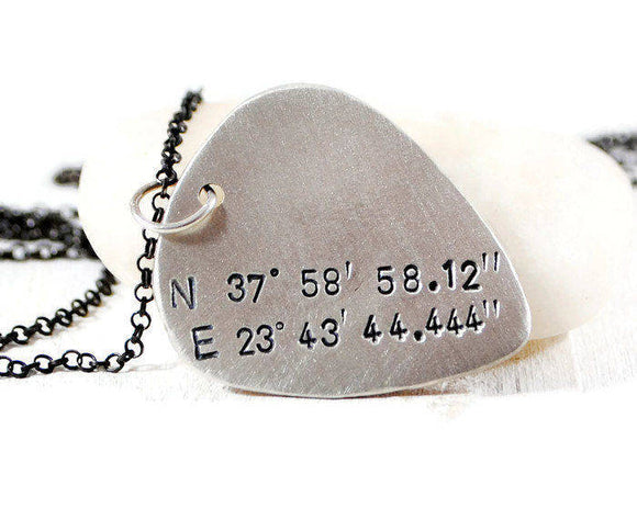 Custom Coordinates Sterling Silver Guitar Pick Necklace. Engraved Guitar Pick Silver Chain. Men's Latitude Longitude GPS Stamped Necklace. Gift For Musician.