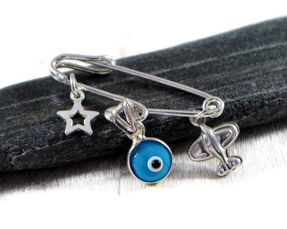 Baby Boy Gift. Sterling Silver Brooch. Baby Carriage Safety Pin. Protective Evel Eye Safety Pin. Stroller Pin Star Charm. Baby Shower Gift