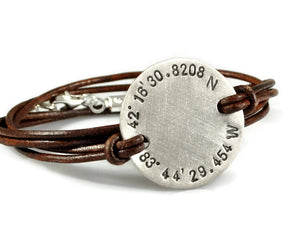 Custom Coordinates Bracelet. Mens Leather Wrap Bracelet. Sterling Silver Disc Bracelet. Gift For Her. Graduation Birthday Gift Girlfriend.