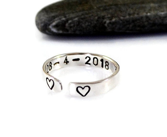 Sterling Silver Ring. Personalized Custom Ring. Inspirational Ring. Heart Ring. Stacking Ring. Mothers Day. Graduation.Birthday Gift For Her  Inspirational Ring. Stacking Skinny Ring. Arrow Ring. Gift For Her. Birthday Gift For Her. Graduation Gift. Girlfriend Gift. Meaningful Ring.