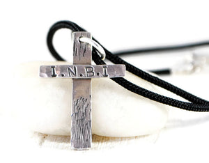 Personalized Sterling Silver Cross Necklace. Hammered Rustic Silver Cross. Mens Sterling Engraved Cross Pendant. Mens Cord Necklace. Men's Rustic Silver cross.
