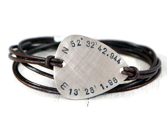 Coordinate Bracelet Men. Latitude Longitude Bracelet. Custom Coordinates Bracelet. Sterling Silver Guitar Pick Bracelet. Silver Leather Men.