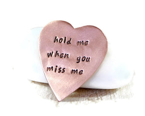 Hold Me When You Miss Me. Custom Wallet Insert. Long Distance Relationship Gift. Personalized Heart. Heart Keepsake. Hand Stamped Heart. Mother's Day Gift.