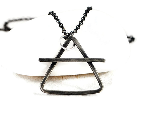 Alchemy Silver Chain Necklace. Mens Rustic Pendant Necklace. Custom Made. Air, Fire, Water, Earth Symbol. Element Jewelry. Mens Necklace. gift for boyfriend,