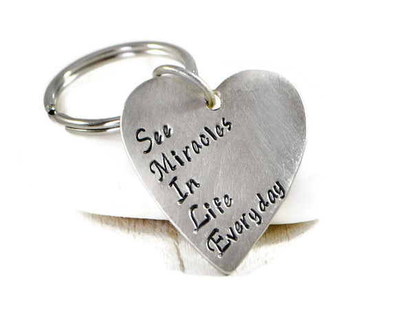 Smile Quote Keychain. Silver Heart Keychain. Smile Acronym Keychain. Happiness Keychain. Gift For Her. Mothers Day Gift. Best Friends Gift.Personalized Keychain