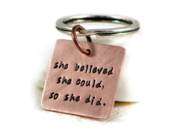 She Believed She Could So She Did Keychain. Womens Inspiration Keychain. Graduation Gift For Womens. Personalized Custom Square Keychain.