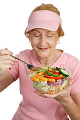 lady eating healthy diet salad