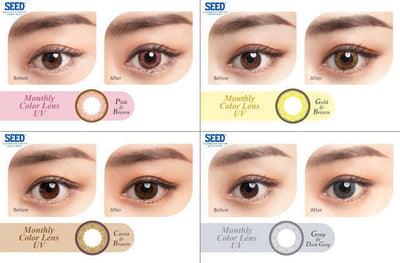 SEED Monthly Color Lens UV Cocoa & Brown, 2/Box-SEED-Sin Chew Optics