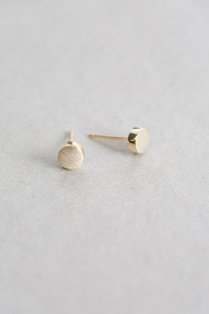 Brushed Round Earrings (14K Gold)