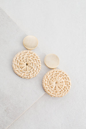 Wicker Disc Drop Earrings | Natural Brown