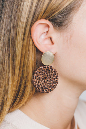 Wicker Disc Drop Earrings | Dark Brown