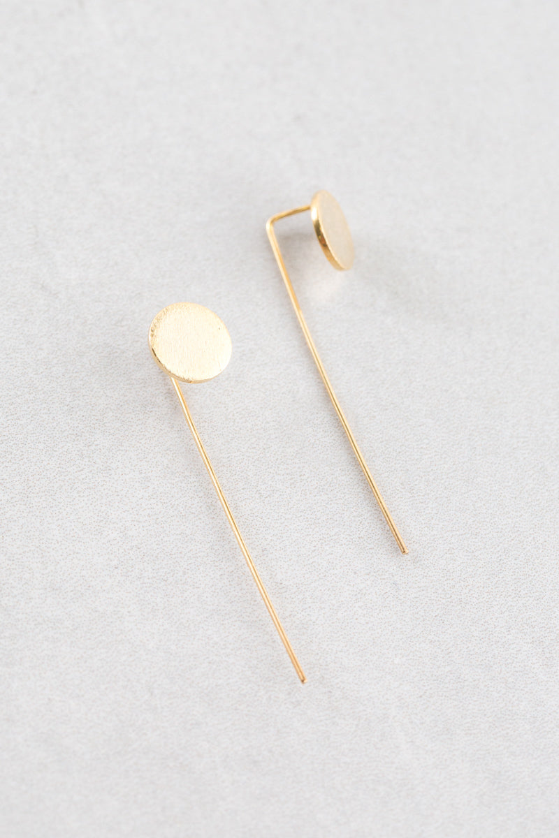 Round Brushed Threader Earrings | Gold