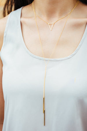 Delta Layered Y- Necklace | Gold