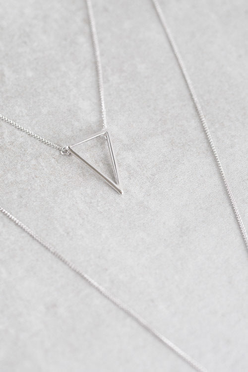 Delta Layered Y- Necklace | Silver