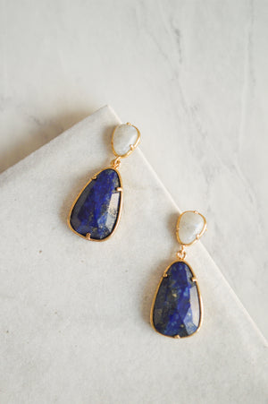 Lovely Lapis Drop Earrings | Gold