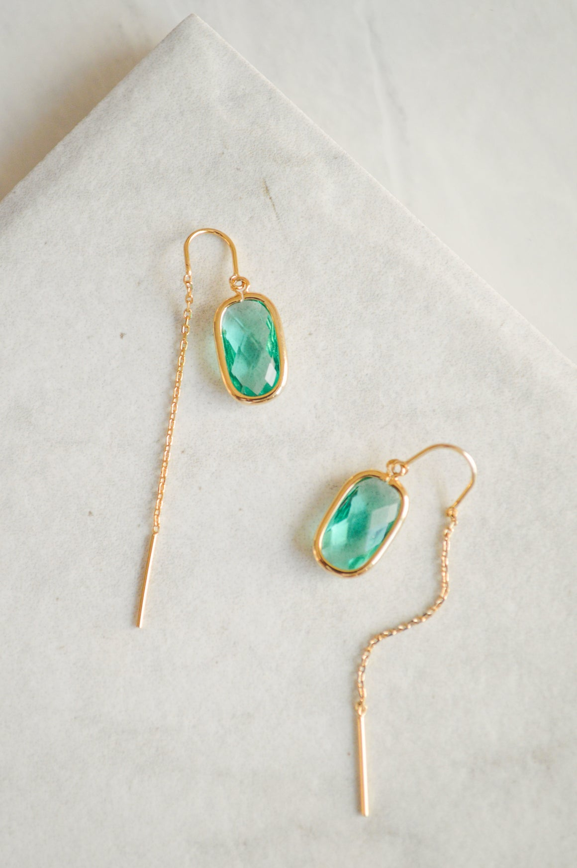 Elle Threader Earrings | Green