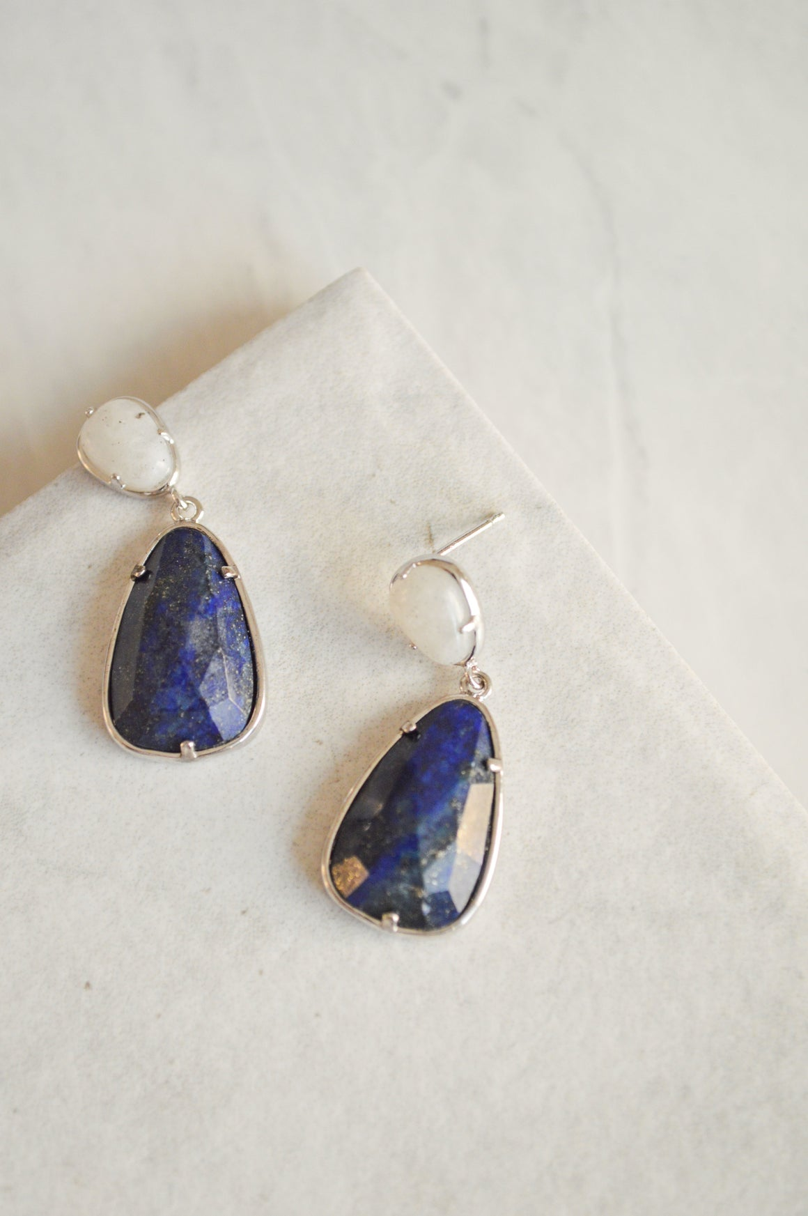 Lovely Lapis Drop Earrings | Silver