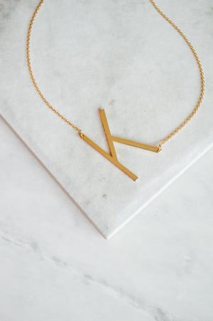 Initial Block Letter Necklace