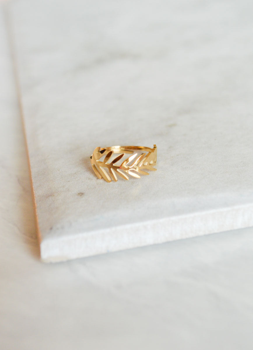 Polished Feather Ring | Gold (14K)