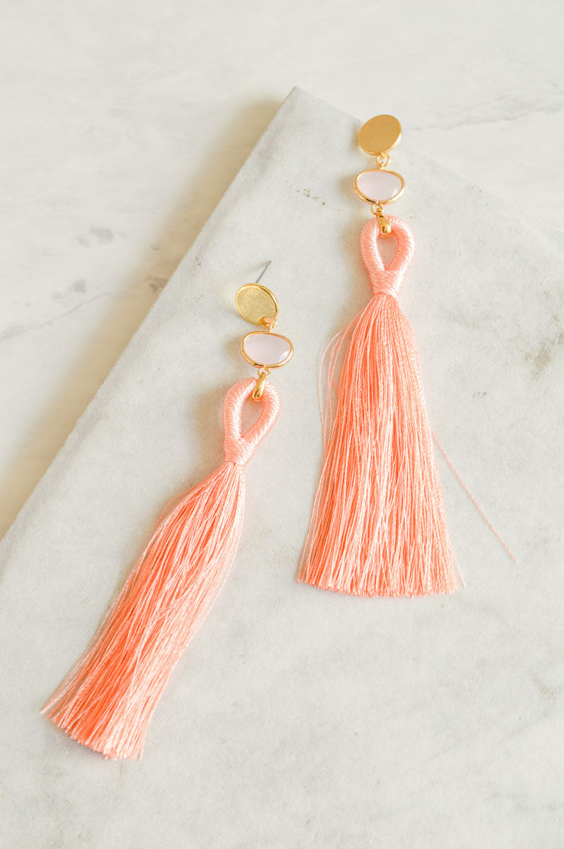 Eze  Tassel Earrings | Pink