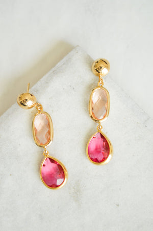 Dahlia Jewel Drop Earrings | Blushing