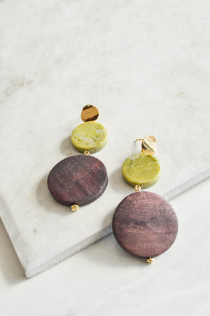 Costa Wood & Stone Drop Earrings