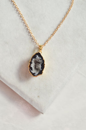 Natural Stone Necklace | Black Agate