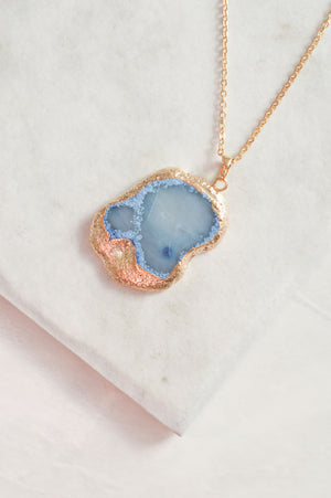 Natural Stone Necklace | Blue Agate