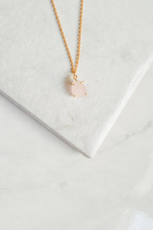 Rose Quartz Prong Pendant Necklace