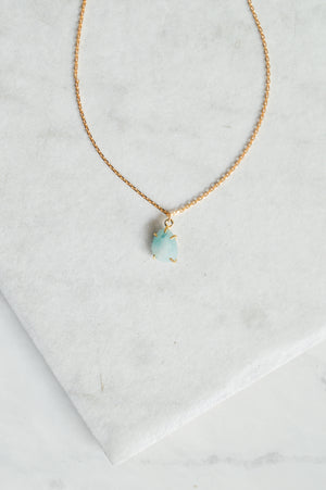 Amazonite Prong Pendant Necklace