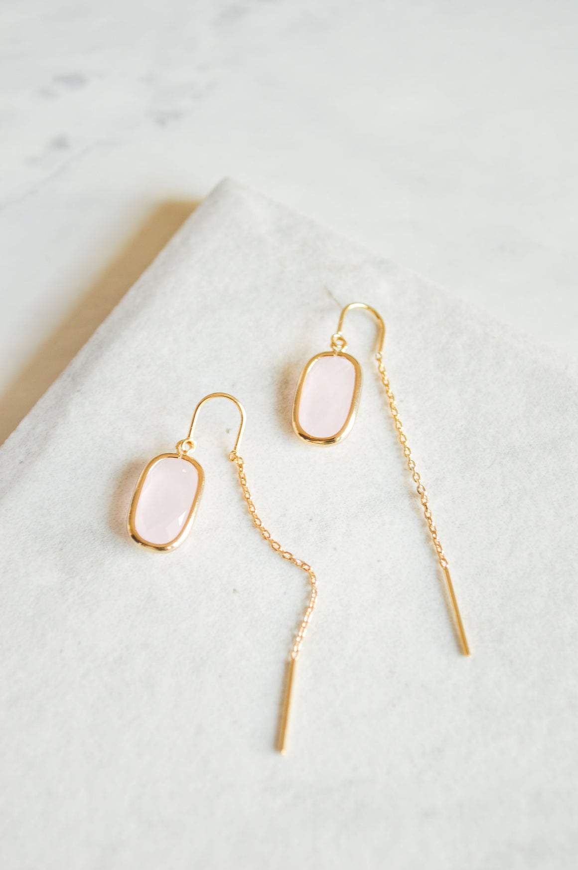 Elle Threader Earrings | Blush Pink