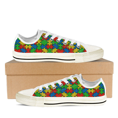 AUTISM AWARENESS MONTH WOMENS LOW (WHITE)