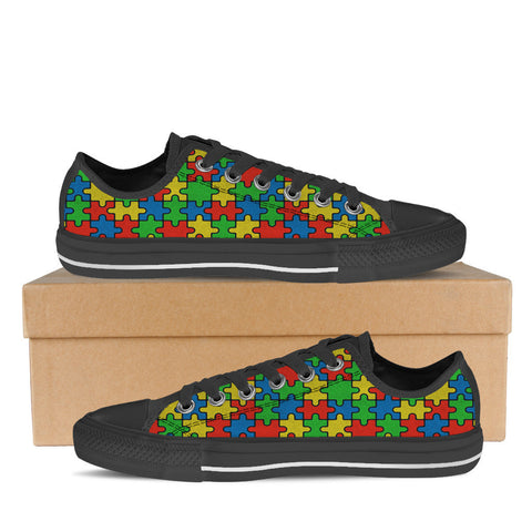 AUTISM AWARENESS MONTH WOMENS LOW (BLACK)