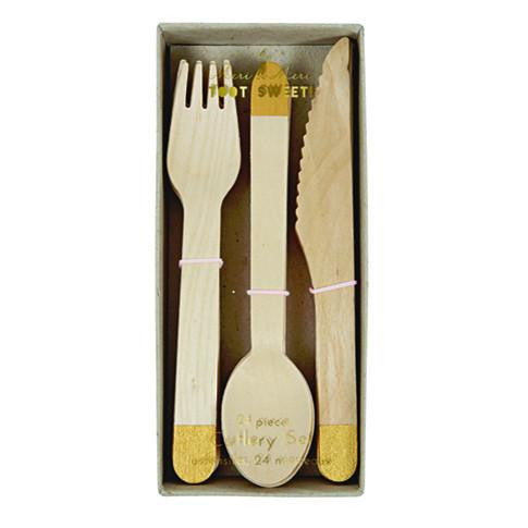 Gold Wooden Cutlery Set - Solsken
