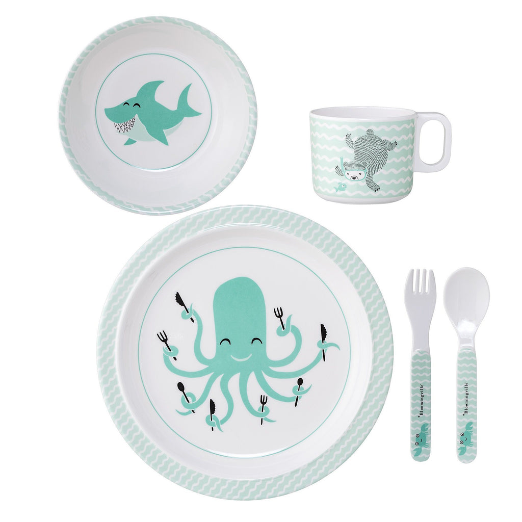 Melamine Serving Set Axel - Green - Solsken