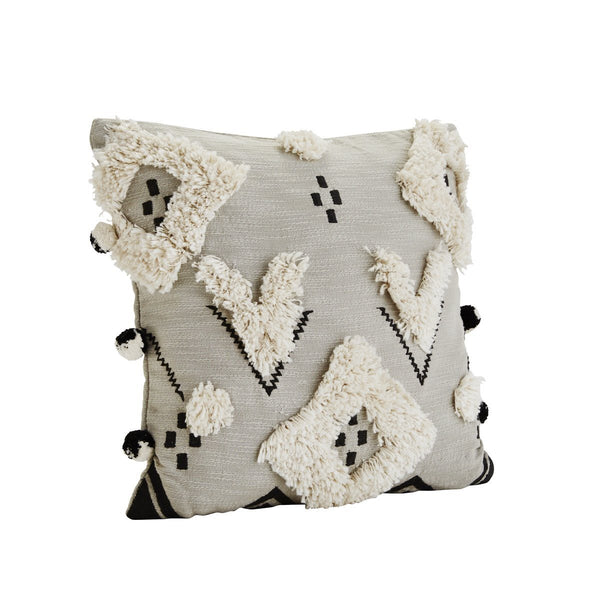 Cotton Cushion Cover with pom pom - Solsken