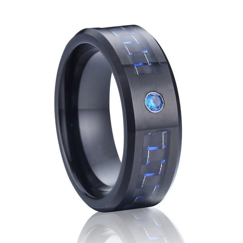 Bague tungstene et fibre de carbone - black and blue