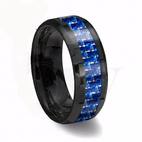Black and Blue - Bague Carbure de Tungstène 8mm - Hommes/Femmes Couples (alliances)