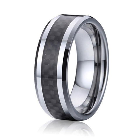 bague carbure de tungstene - 8mm - carbone noir
