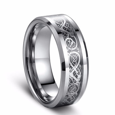 Bague 8mm Tungstene - motif celte Dragon Argent