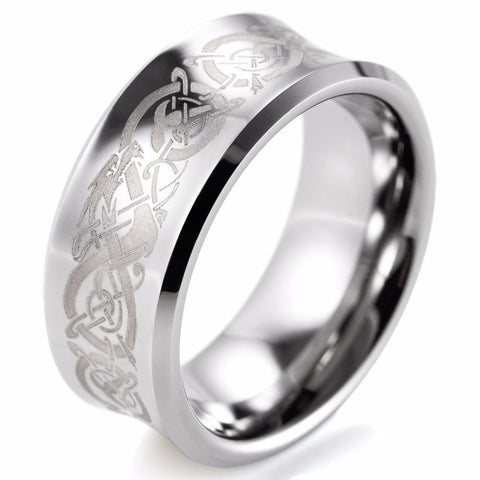 Bague 8mm Tungstene - forme concave style celte Dragon