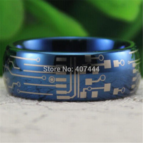 Bague tungstene bleue - CIRCUIT BOARD Design