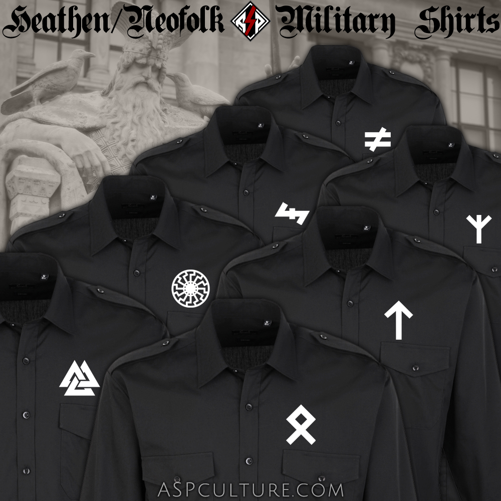 Heathen / Neofolk Military Shirts with epaulette shoulder tabs custom-made in Europa