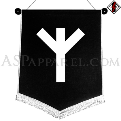 Algiz Rune Chevron Pennant-satanic-clothing-heathen-merchandise-by-ASP Culture