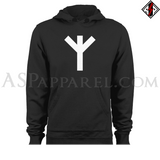 Algiz Rune Hooded Sweatshirt (Hoodie)-satanic-clothing-heathen-merchandise-by-ASP Culture